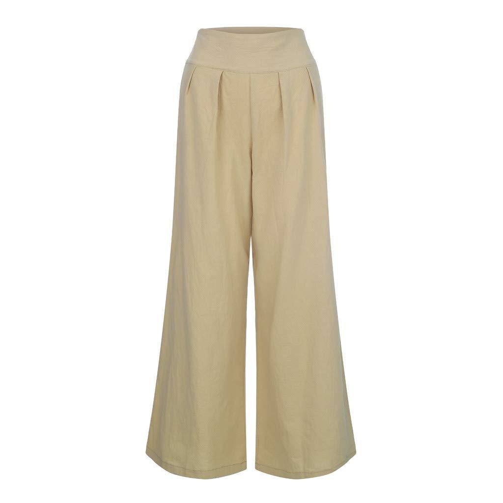 BESSKY Femme Pantalon Taille Haute Large /à Jambes Larges en Coton Cotton Flax Taille Haute pour Femmes