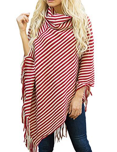 Sexyshine Womens Fall Loose Turtleneck Stripe Tassel Shawl Wrap Poncho Cape Cloak Pullover Sweater Tops