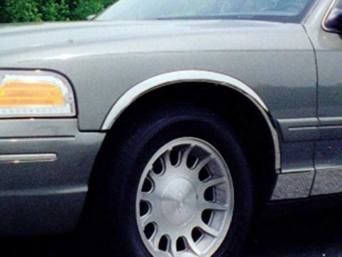 CROWN VICTORIA SEDAN 1998-2002 FORD & GRAND MARQUIS GS SEDAN 1998-2002 MERCURY (4 Pc: Stainless Steel Fender Trim - Clip on or screw in, hardware included - 2