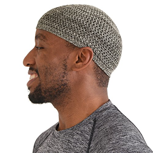 CHARM Silk Kufi Hat Skull Cap - Mens Beanie Hat Handmade in Japan Stretchy Mix Brown M ()