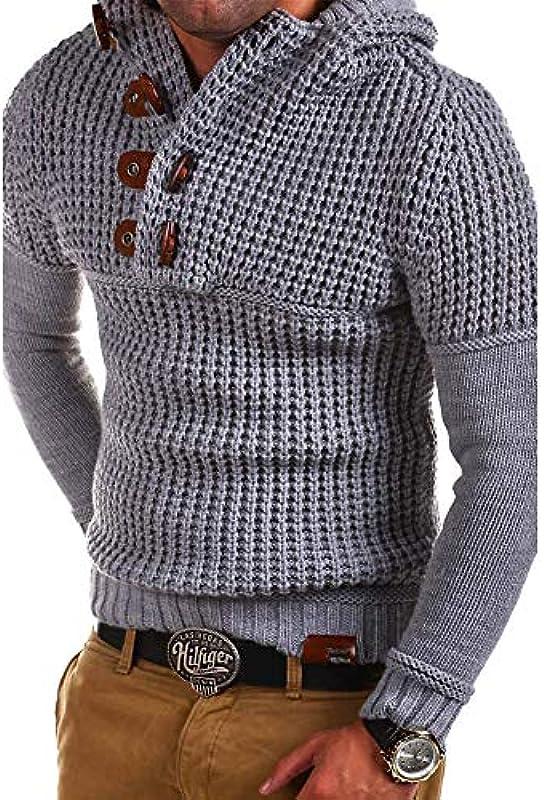 CHIYEEE męska jesień zima sweter dziergany męski guziki dzianina sweter długi rękaw top dzianina Jumper bluza M-XXXL: Odzież