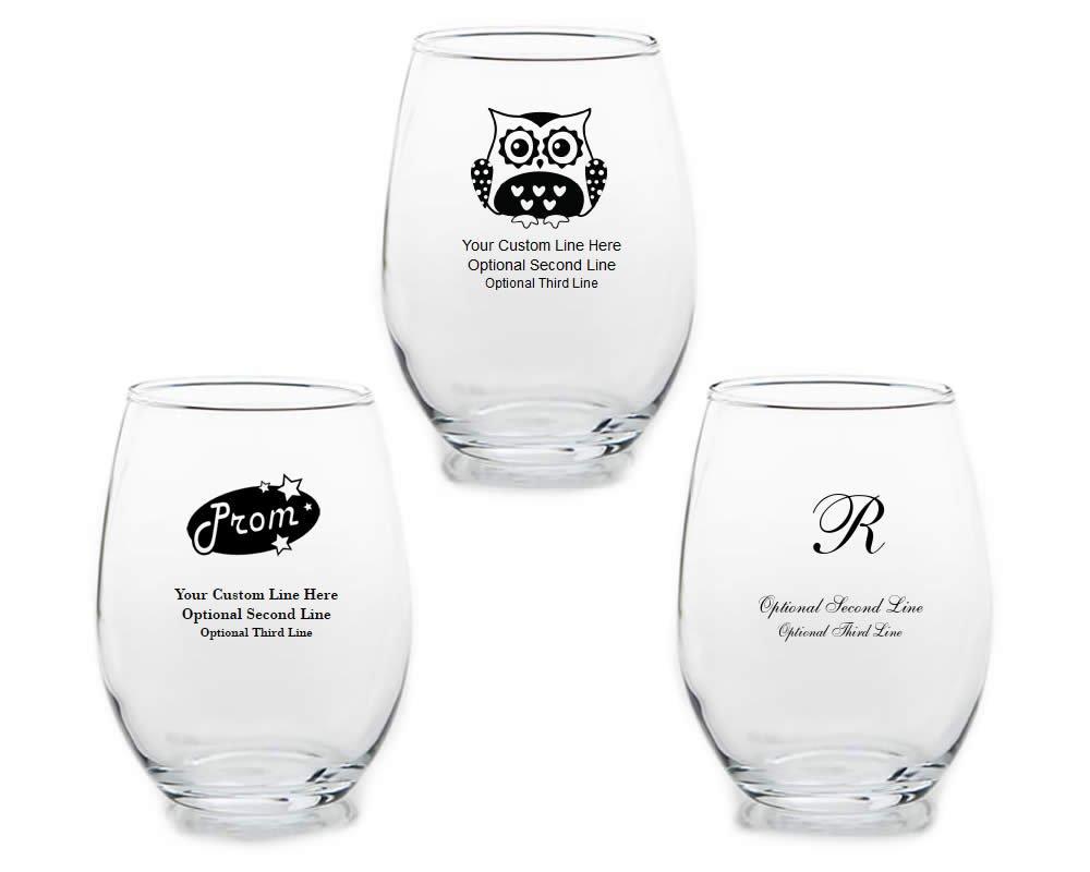 FashionCraft Set of 200 Personalized Stemless Wine Glasses - Custom Artwork Fashion by Fashioncraft