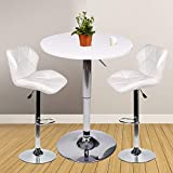 YOURLITEAMZ Bar Table Set of 3 - Adjustable Round Table and 2 Swivel Pub Stools for Home Kitchen Bistro, Bars Wine Cabinets (Set 8)