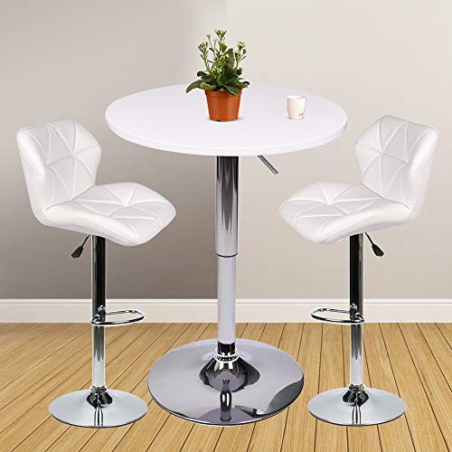 Bar Table Set of 3 – Adjustable Round Table and 2 Swivel Pub Stools for Home Kitchen Bistro, Bars Wine Cabinets (Set - Bar Set Piece Table 3