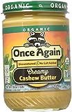 Once Again Organic Creamy Cashew Butter 16 oz (454 grams) Jar