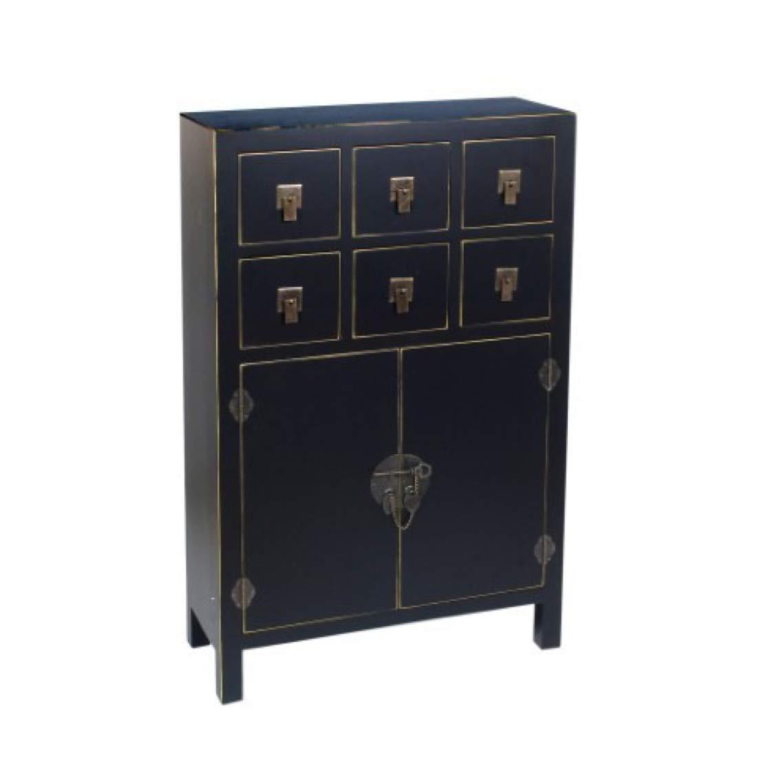 Vidal Regalos Kommodenschrank Retro, mit 2 Türen und 6 Schubladen, Holz, schwarz, 107 cm