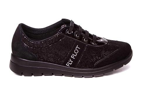 Zapatillas Deportivas Negras Muy cómoda Hecha en Piel y Tejido elástico y Suave - Fly Flot 27P60: Amazon.es: Zapatos y complementos