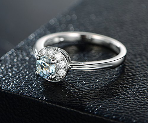 Solid 18K white gold promise ring,0.15ct SI-H Diamond Engagement ring,5mm Round 0.55ct Natural VVS blue Aquamarine,pave set ()