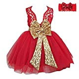 Girls Bowknot Lace Princess Skirt Sequins Dress with Headband for Baby Toddlers Kids Red/2-3years
