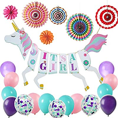It's a Girl Unicorn Banner For Baby Shower/Girl Birthday Party Decorative  items