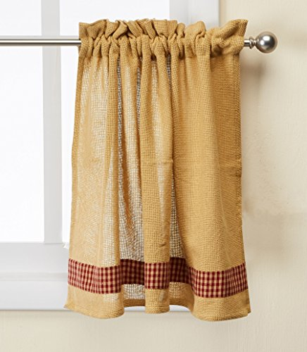(Park Designs Red Burlap and Check Window Treatment Tier, 72 x 24)
