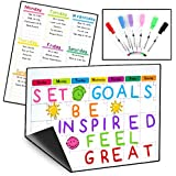 2 Magnetic Dry Erase Calendars for Refrigerator & 6 Colored Markers/Stay on Track with Your Fridge Whiteboards/Complete Set (1 Monthly, 1 Weekly and 6 Markers)