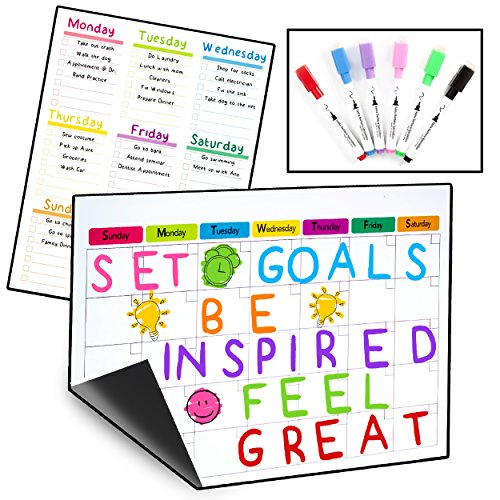 2 Magnetic Dry Erase Calendars for Refrigerator & 6 Colored Markers/Stay on Track with Your Fridge Whiteboards/Complete Set (1 Monthly, 1 Weekly and 6 Markers) by Santa Barbara Specialties (Image #7)