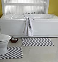 WARISI – 2 Piece Chevron Pedestal Collection – Designer Plush, Cotton Bath Rug and contour, 34 x 21…