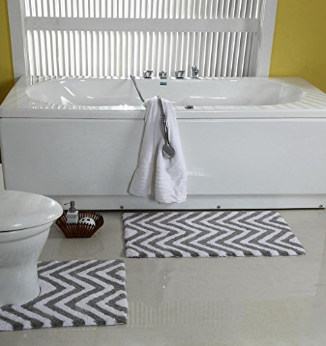 WARISI - 2 Piece Chevron Pedestal Collection - Designer Plush, Cotton Bath Rug and contour, 34 x 21 and 21 x 21(Grey - Piece Pedestal 2