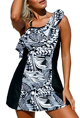 Women One Ruffle Shoulder Monochrome Jungle Printed Swimdress with Swim Shorts Tankini Swimsuits xl Size (Ruffle Swim Dress)
