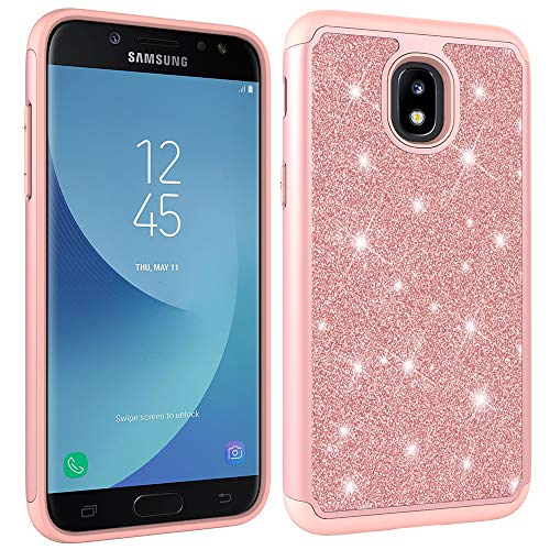 - Aiyze Compatible Galaxy J7 2018 Case,J7 Aero/J7 Star/J7 Top/J7 Crown/J7Aura/J7Refine/J7Eon Glitter Powder Bling Tough Dual Layer Rugged Rubber Silicone Hybrid Hard Soft Back Protective Cover Rose Gold