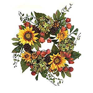 Autumn Elegance Yellow Sunflower Summer Wreath for Front Door Wreaths Indoor Outdoor Fall Year Round Sunflowers Farmhouse Wall Decor Use Though Fall Has Hydrangea Pine Cones Chinese Lanterns 65