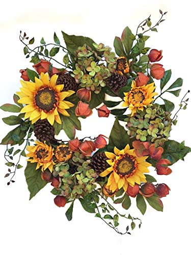- Autumn Elegance Yellow Sunflower Summer Wreath for Front Door Wreaths Indoor Outdoor Fall Year Round Sunflowers Farmhouse Wall Decor Use Though Fall Has Hydrangea Pine Cones Chinese Lanterns 22 inch