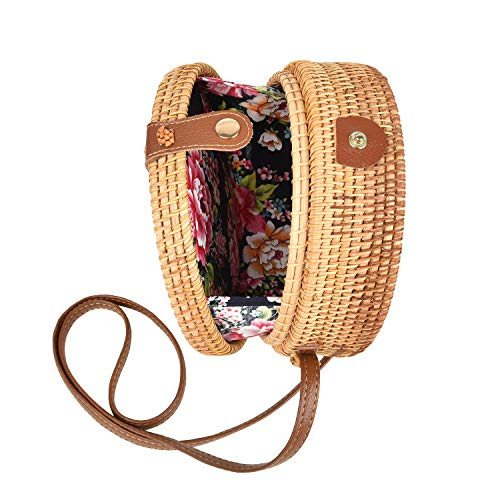 Handwoven Round Rattan Bag Tropical Beach Style Woven Shoulder Rattan Bag with Leather Buckle (Basket Woven Straw)