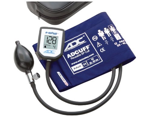 ADC 7002 E-sphyg Digital Pocket Aneroid Sphygmomanometer Blood Pressure Monitor, Reusable BP Cuff, Adult, Royal Blue