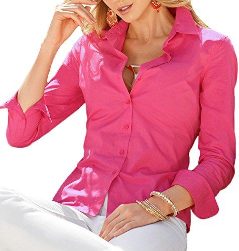 Manica con Unita Shirts a Moda Fox Fr Lunga Maglie Tops Rosa Estivo Donna Rossa Risvolto Bluse Sottile Bottoni Tinta ulein TP48SqAcf