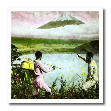 3dRose Scenes from the Past Magic Lantern Slides - Vintage Fujiyama Japan  View Mt. Fuji 5629b9ec25