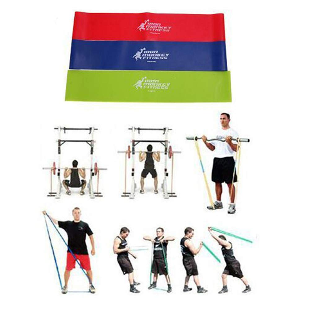 TADAMI 3Pcs Resistance Band Loop Yoga Pilates Home Gym Fitness Exercise Workout Training for Pilates Stretching