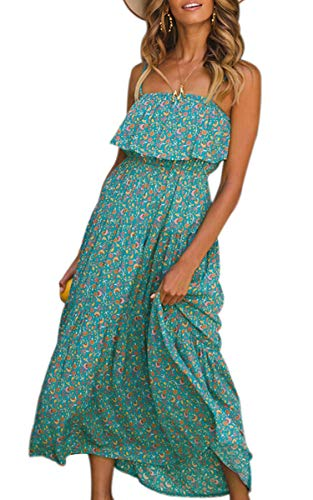 (ECOWISH Womens Summer Floral Boho Spaghetti Strap Sundress Semi-Backless Ruffled Long Tube Top Dress Green L)