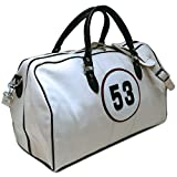 Number 53 White Racing Leather Duffle Bag