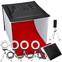 Photo Light Box, FOSITAN K60 24x24 Inch LED Foldable Table Top Portable Photography Box Photo Studio Light Tent (4 x 900lm, 4 x 7W LED Ring Head, 5 x Tripod, 4 x Backdrop, 3200K-5500K-9000K)