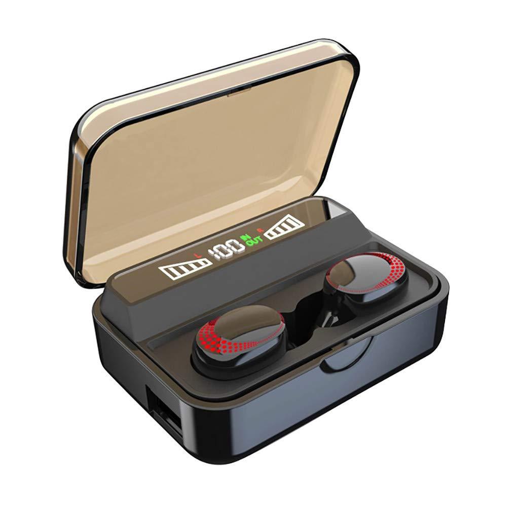 010 Bluetooth Headphones 5.0 True Wireless Earbuds Deep Bass HiFi Stereo Sound 30H Playtime Bluetooth Earphones in Ear Binaural Call Headset (A)