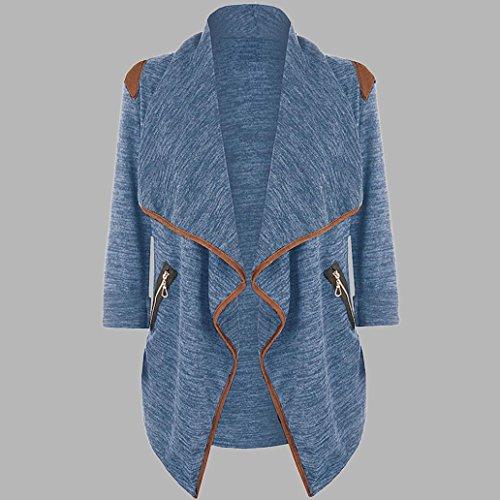 Damen Strickjacken, GJKK Damen Oversize Offene Cardigan Strickjacke Asymmetrisch Strickmantel Mantel mit Tasche (M-3XL) (M, Blau)