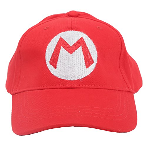 Mario Luigi Wario Waluigi Costumes (XCOSER Fashion Super Bros Baseball Hat Cap for Adult Red)