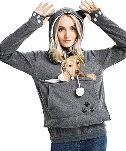 Hilary Ella Women's Big Kangaroo Pouch Hoodies,Cute Cat Ear Carriers Pullover,Pet Cat Dog Holder Cuddle Sweatshirt ()