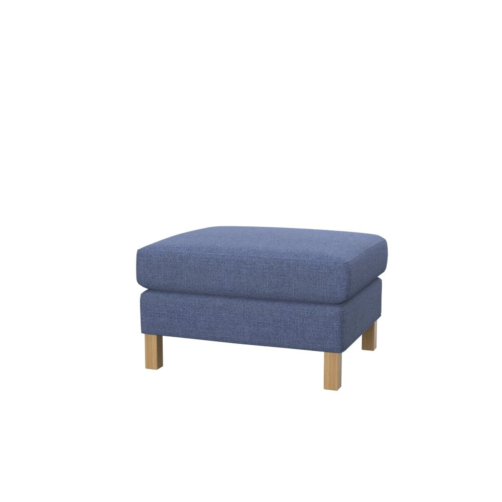 Soferia - IKEA KARLSTAD footstool cover, Naturel Blue