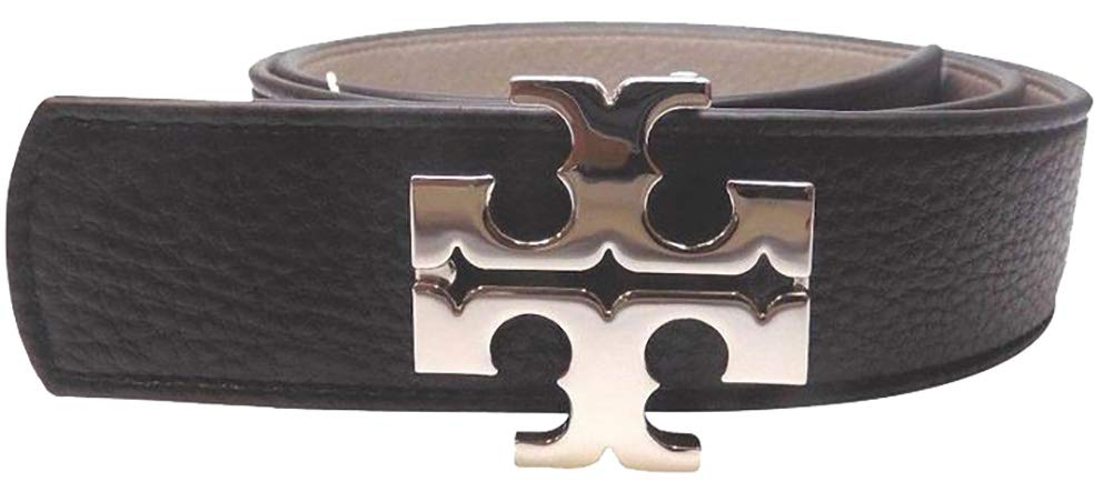 Tory Burch Women's 1 1/2'' Genuine Leather Square Logo Buckle Belt Black French Grey Small