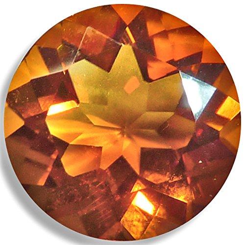 Madeira Citrine Gemstone - Natural Citrine Round Brilliant Loose Unset Gem (5mm, Gold-Orange)
