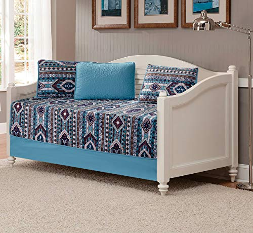 Rustic Western Southwestern Native American Quilt Set in Beige Taupe Brown Turquoise and Navy Blue Colors - Bedspread Set San Antonio - Set Country Daybed