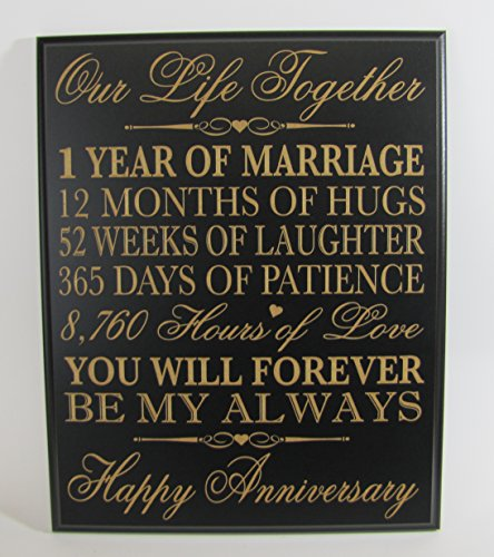 1st wedding anniversary wall plaque gifts for couple 1st for First wedding anniversary gift for her