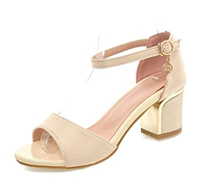 1ac0701b8b38 Sfnld Women s Stylish Rhinestone Peep Toe Buckle Strap Medium Block Heel  Sandals Beige 4 B(