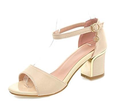 8d82476728ff Sfnld Women s Stylish Rhinestone Peep Toe Buckle Strap Medium Block Heel  Sandals Beige 4 B(