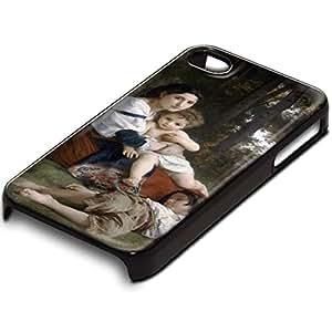 William Adolphe Bouguereau - Rest, Custom Design Negro PC Ultradelgado Caso Duro Carcasa Funda Protección Tapa Hard Case Cover Shell con Diseño Colorido para Apple iPhone 4 4S.
