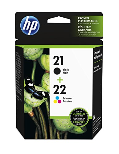 HP 21 Black & 22 Tri-color Original Ink Cartridges, 2 Cartridges (C9351AN, C9352AN)