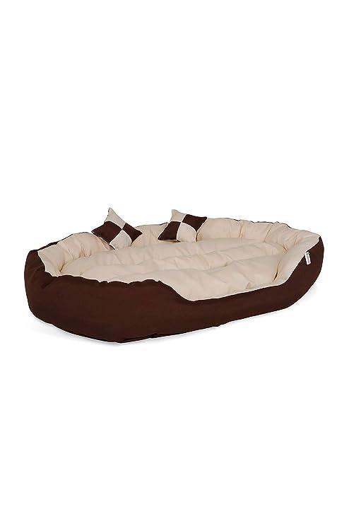 Cama para perros, Colchón para perros (85x70x20 cm, marrón/beige)