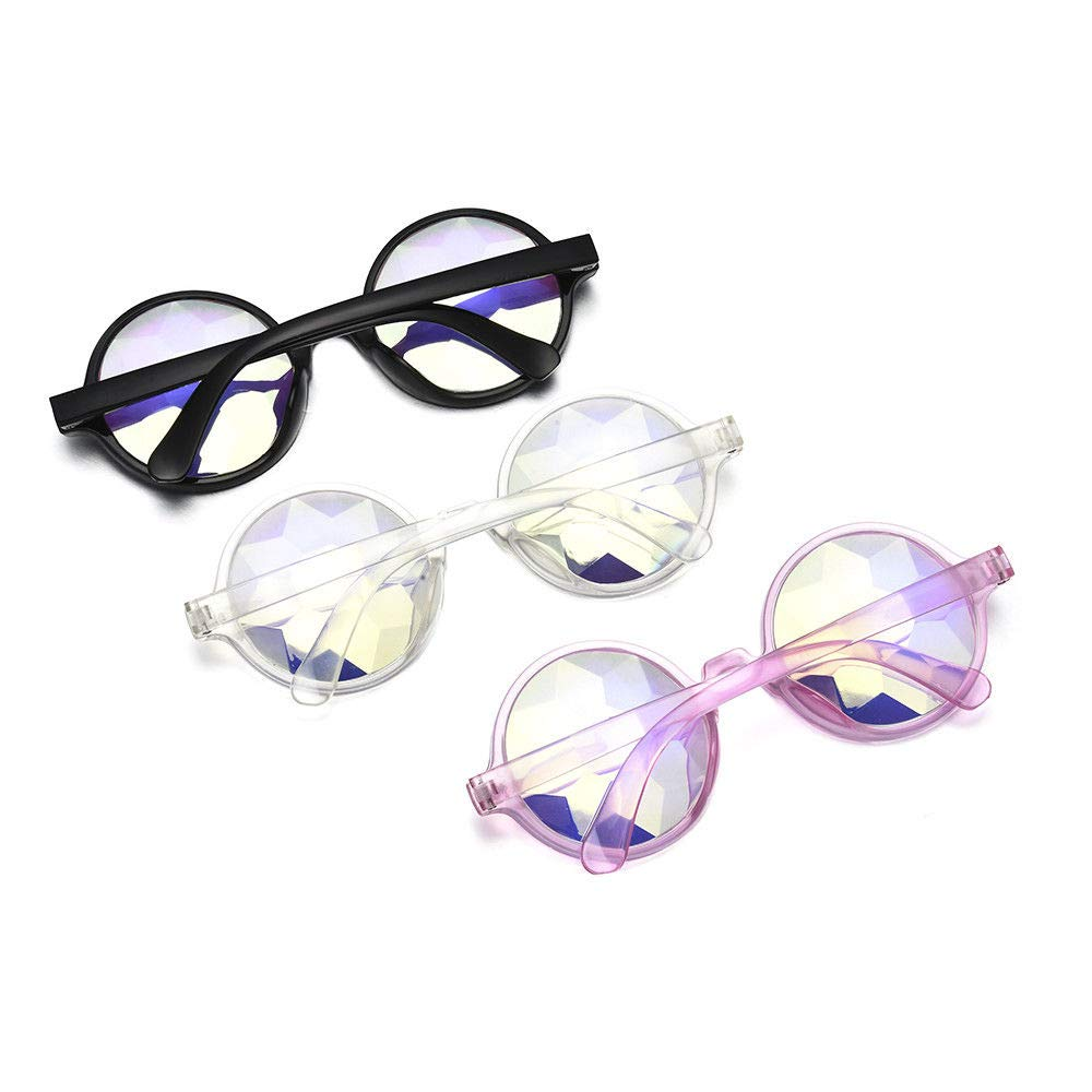 Magik Festival Party Rave Kaleidoscope Rainbow Round Glasses Diffraction Prism Glasses (Black+Pink+Clear 3 Pack)