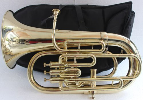 Queen Brass Euphonium 4Valve Bb F Pitch-Brass Finish Sound W Case Mp Gold by Queen Brass