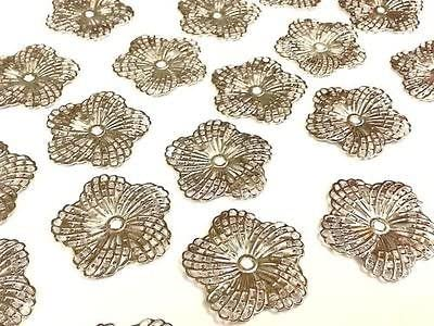 10 Bronze Filigree Flower DIY Embellishment Scrapbook Findings Art Deco