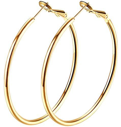 2.4 Large Hoop Earrings, Gold Plated Big Basketball Hoop Earrings For Women Girl sensitive Ears