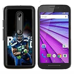 54 Jugador de la NFL- Metal de aluminio y de plástico duro Caja del teléfono - Negro - Motorola Moto G (3rd gen) / G3